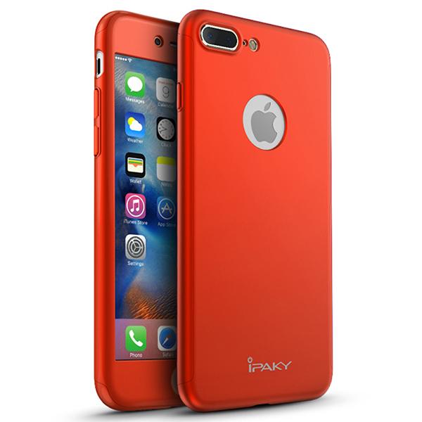 Θηκη IPAKY Classic 360° για Apple iPhone 7+ Κοκκινη & Προστατευτικο Τζαμι